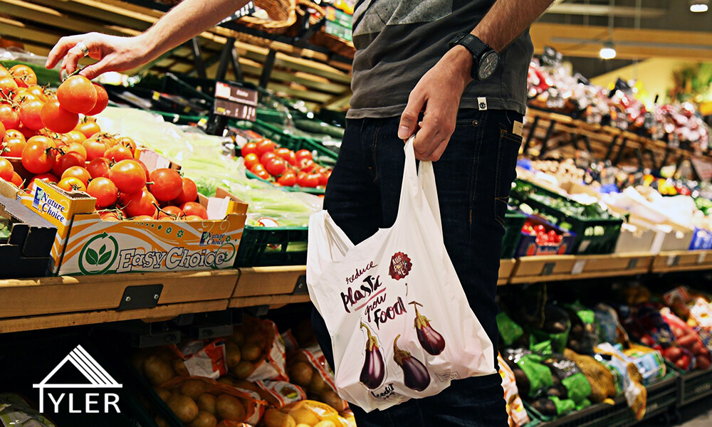 The development of biodegradable shopping bags banner
